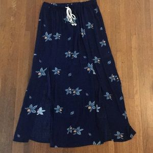 Navy blue slit front long skirt